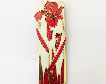 1980s Red Flower Enamel Brooch with White Enamel and Gold Metal.