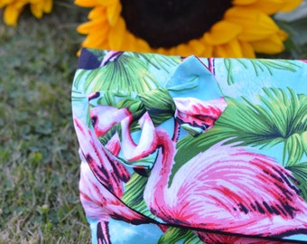 Flamingo Summer Clutch, Make-Up Pouch & Bow Set