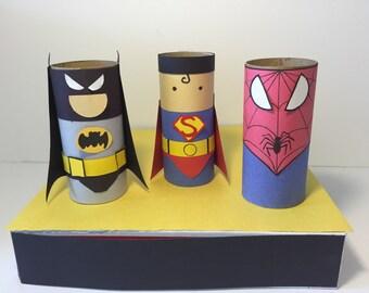 Super Hero Craft Kit Kid's Craft Paper Craft Kit Paper Tube kit