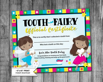 Tooth Fairy Certificate | Cultural | 8x10 Print | First Tooth | Boy | Girl | DIY | Instant Download | Digital Printable