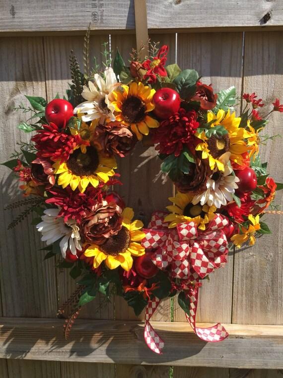 Fall Wreath Apple Wreath Harvest Decor Sunflower Wreath