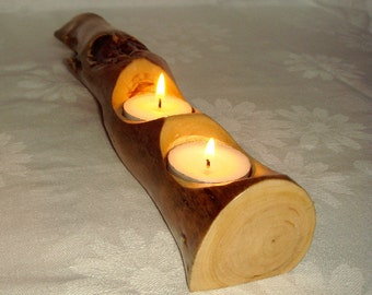Rustic Tea light Candle Holder.Wood.Reclaimed Pine Root wood.Wood candlestick.Candle holder.Wooden gift.Cute houswares.Anniversary gif.