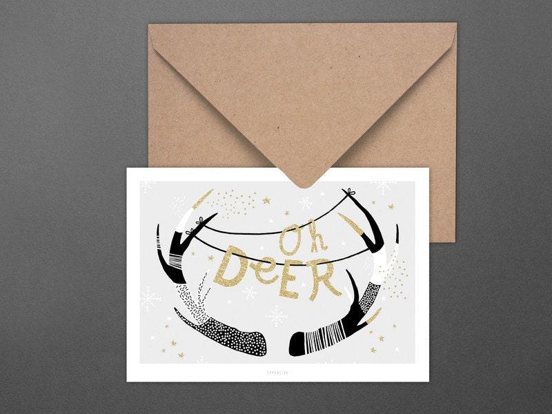 Weihnachtskarte Oh Deer / Deer head, Postcard, Greeting Card ...