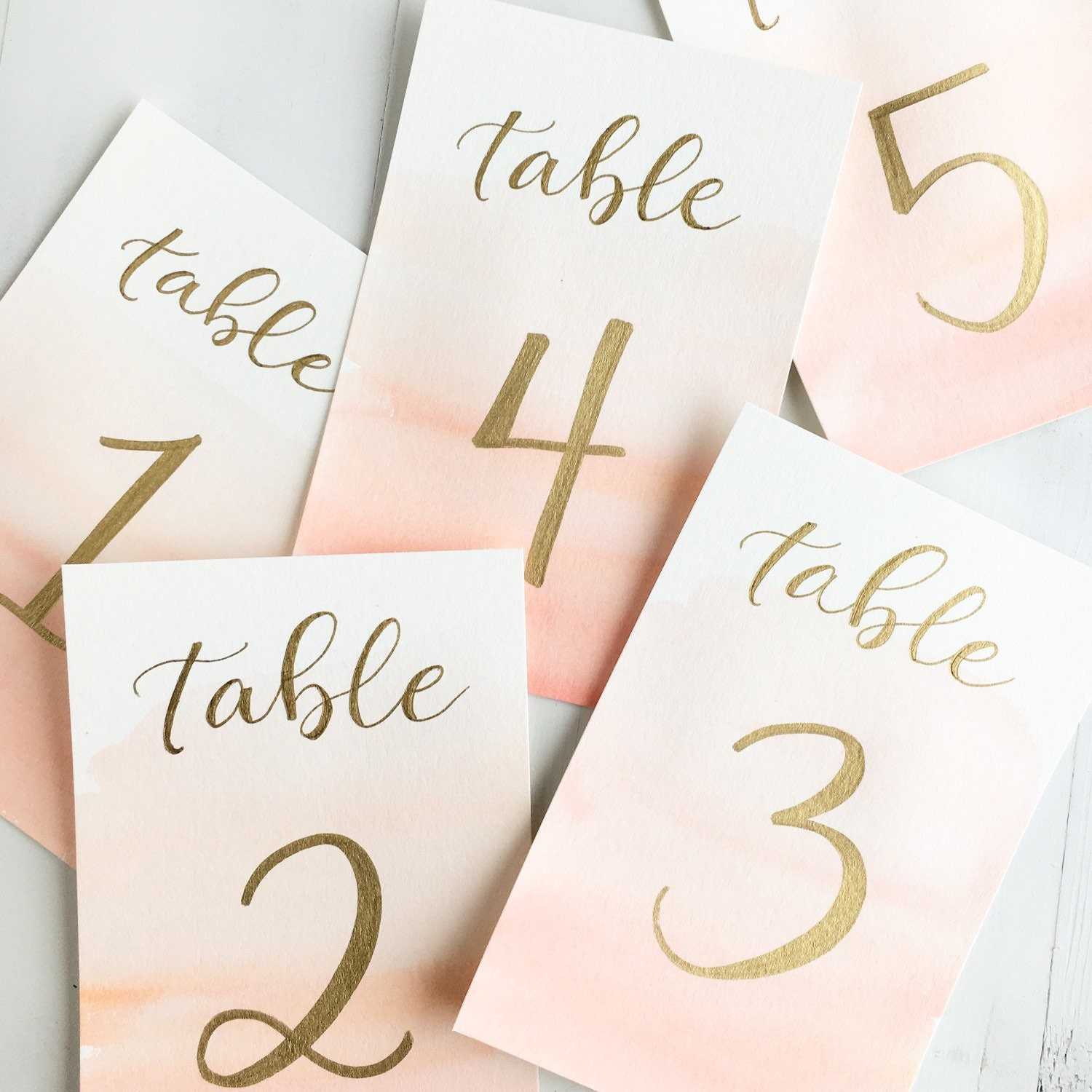 Watercolor and gold wedding table numbers custom by for Table numbers