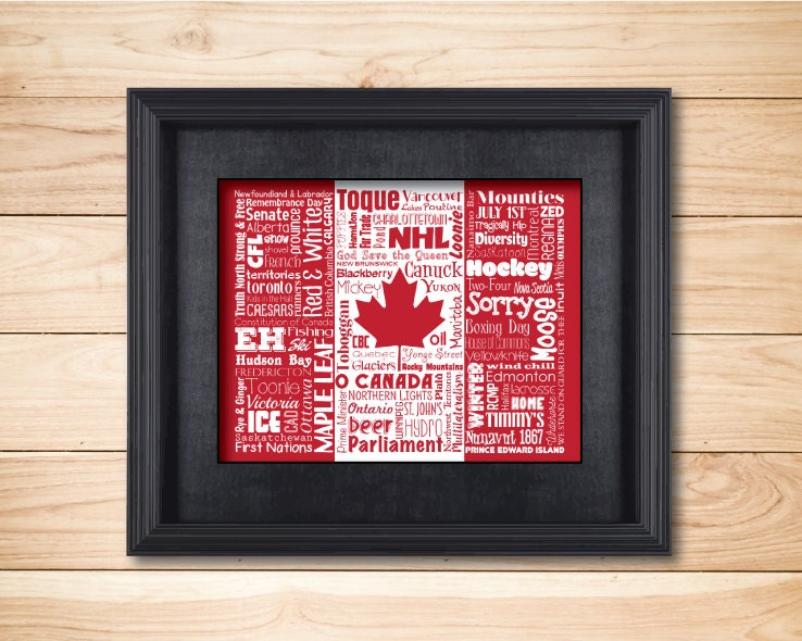 Canada Word Art Typography Wall Art Home Decor Country