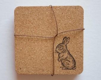 bunny, rabbit coasters, cork, cork coasters, bunny coasters, cute coasters, animal coasters, cork coaster, rabbit cork coasters