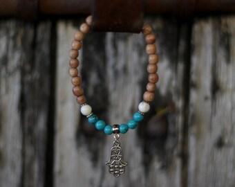 Bracelet *Hamsa*, natural turquoise, howlite, crystal healing, gemstone