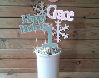 Winter Onederland Centerpieces - snowflake centerpieces - pink and gold birthday - personalized - party supplies - table decorations