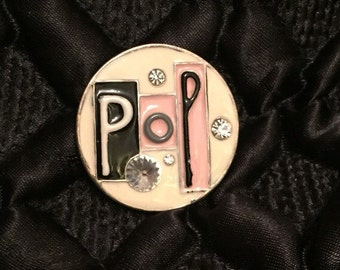 Pop art emamel brooch 1980's