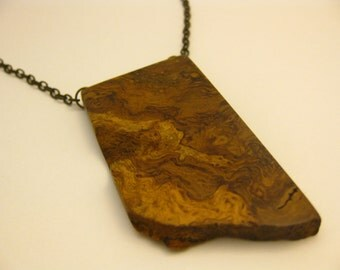 Reclaimed Spalted Oak Burl Wood Pendant Necklace Eco Friendly Women's Necklace Wood Necklace