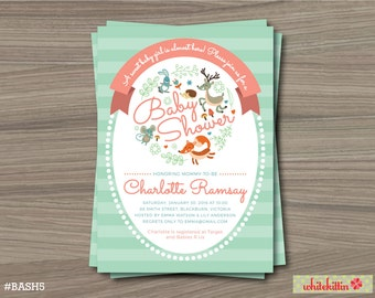 Woodland Baby Shower Invitation Card Printable For Baby Girl In Pink