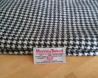 Harris Tweed Cloth Fabric Black and White Houndstooth Luxury Handwoven 100% Pure Virgin Wool handwoven in Hebrides Scotland