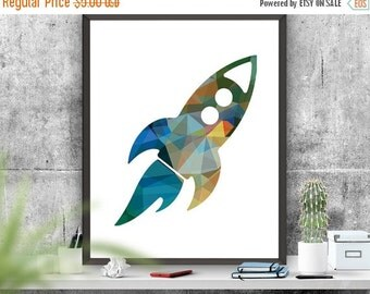 SALE Rocket Ship Art Print Nursery Art Colourful Rocket Printable Origami Effect Rocket Art Boys Room Decor  Instant Download Poster 8x10 16