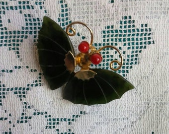 Beautiful Jade butterfly pin or pendant