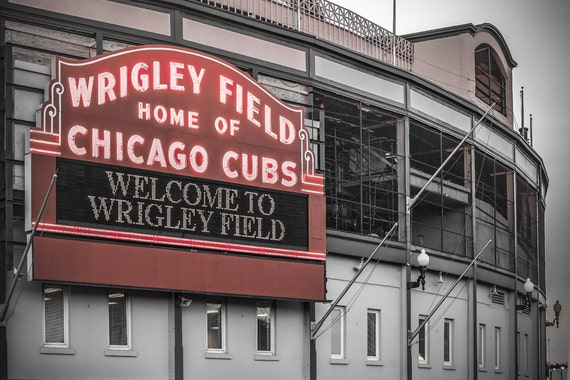 Chicago Cubs Wall Decor- Wrigley Field Art Print, Black and White, Retro Neon