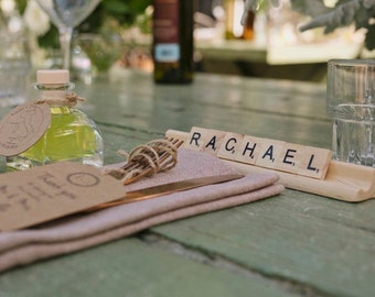 10 Rustic wood tile name | rustic place cards | rustic name card holder | Rustic guest gift | wedding favour  | rustic name card