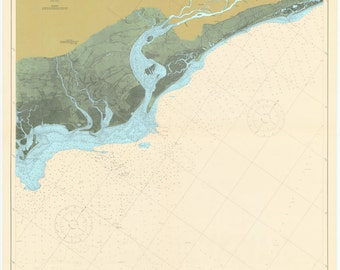 Winyah Bay Map - Murrell's Inlet to Cape Romain 1919 (colored)