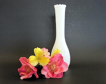 """Vintage Milk Glass Bud Vase 8 3/4"""" Tall"""