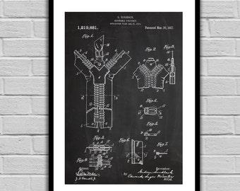 Zipper Patent, Zipper Poster, Zipper Blueprint,  Zipper Print, Zipper Art, Zipper Decor p342