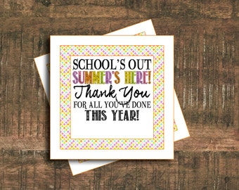 Thank You Tags // Teacher Gift // End of Year Tags // Instant Download