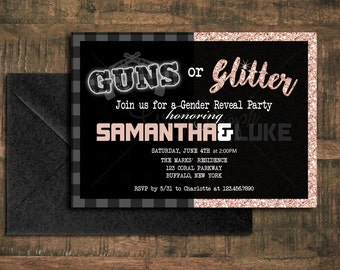 Guns or Glitter Gender Reveal Invitation // Printable Download