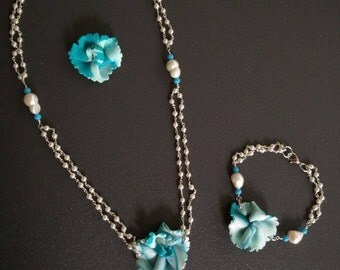"White Pearl lariat necklace Pearl Necklace turquoise flowers natural white pearl and turquoise collection ""Spring"""