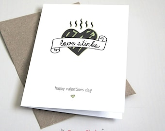 Love Stinks Valentine's Day CARD / Friend / Green and Grey / Anti-Valentine / Funny / 5x7 Folded Card – Printable DIY, Instant Download