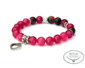 "Elastic Bead Bracelet ""Purple Heart"""