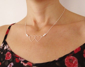 Silver Necklace with Heart Pendant, Heart Charm Necklace