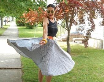 Fabulous 1950's Blue and White Rockabilly/Full Swing Skirt