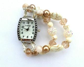 glass beaded watch band, stretch watch, women's watch, double stranded interchangeable beaded bracelet.
