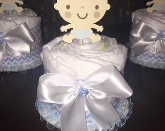 Set of three mini baby boy diaper cake