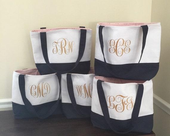 Set of  7 Lined Bridesmaid Tote Bags - Bridesmaid Tote -Bridesmaid  Gift - Bridesmaid Tote Bag  Monogrammed Tote Bag - Custom Tote Bag