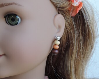Natural Wooden Beads Earrings for American Girl Dolls and other 18 inch dolls