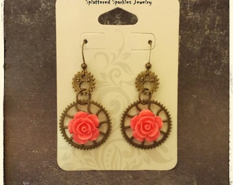Gears and roses earrings with melon pink rose