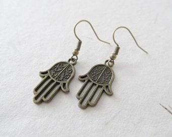 Hamsa earrings, hamsa jewelry, yoga earrings, bronze earrings