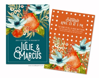 Modern Engagement Party Invitation, Printed Engagement Party Invitation, Engagement Invitation, Watercolor Engagement Invitation