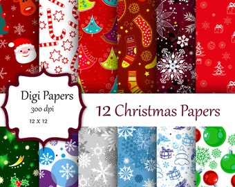 Christmas Digital Paper, Holiday Digital Paper, Christmas Scrapbook Paper, Paper Christmas, Digital Paper, Holiday Paper, Christmas