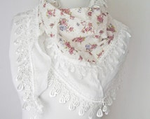 White Scarf, Cotton Scarf, Lace Scarf, Triangle scarves, Beautiful Scarf, scarf for women, Wedding scarf, Hand made scarfs, Vintage scarves