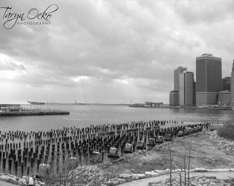 Cloudy Day NYC Black and White Photography Print