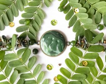 Palm Leaf Bracelet, Green Bracelet, Beaded Bracelet, Free Shipping