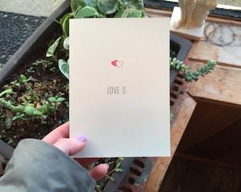 Love U. Card Set (2 cards and 2 envelopes)