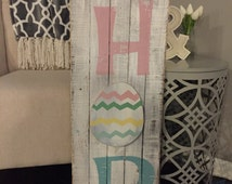 Easter sign, Easter bunny, Hippity Hop, hand painted pallet sign,