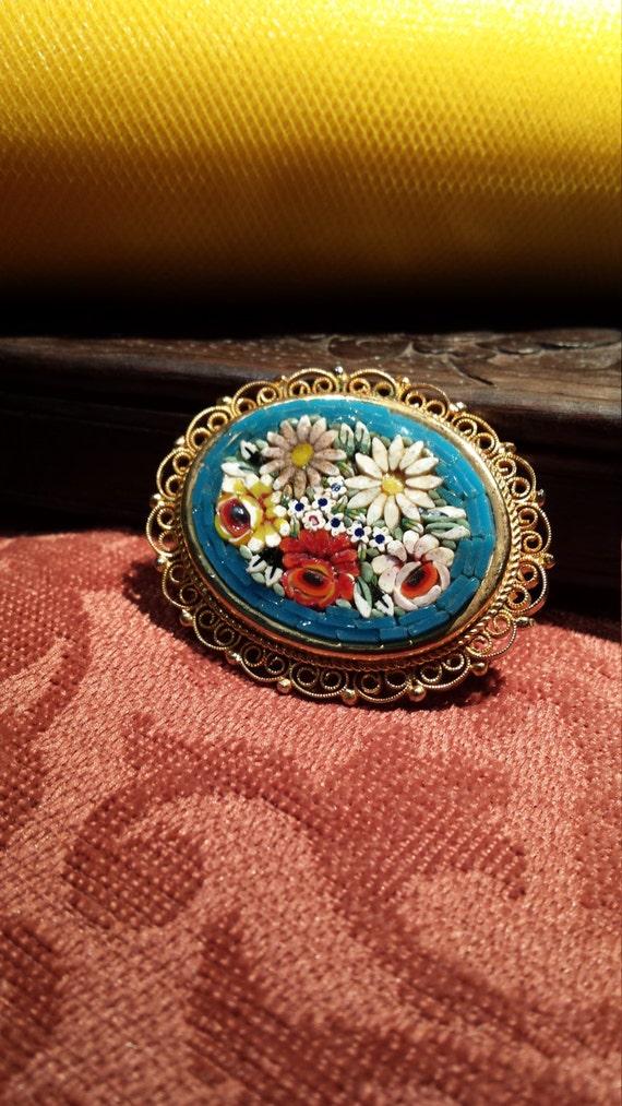Vintage mosaic Italian brooch