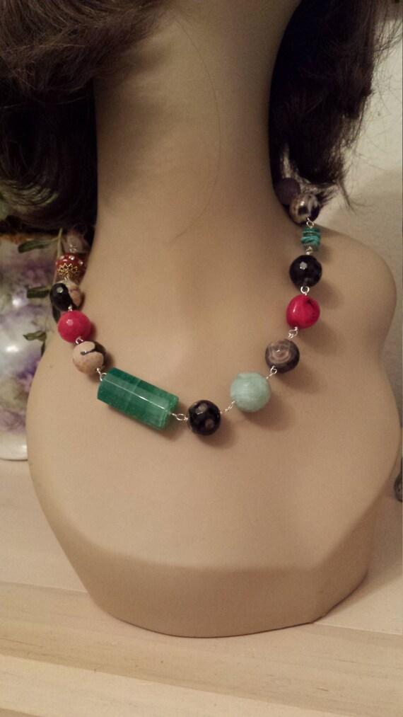 Designer one strand assorted semi precious stone necklace
