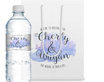 10+ Wedding Welcome Bags,Water Bottle Labels, Wedding Logos, Wedding Welcome Gift, Wedding Favors, Party Favor Bags, Party Gifts