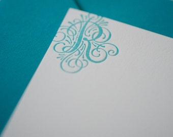 Custom Monogram Letterpress Note Cards - Set of 10 - Thick Cotton Paper - Great Gift Idea - Custom Notecards - Flourish Initial
