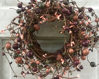 Small Grapevine Wreath - Pip Berry Wreath - Pip Berry Centerpiece - Fall Wreath- Candle Ring-Pip Berry Candle Ring - Free Shipping