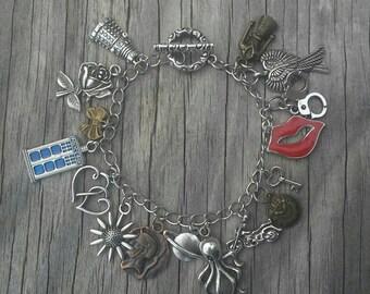 VALENTINES DAY SALE, Doctor Who charm bracelet, fan jewelry, geek, whovian gift, Fandom, fangirl, superwholock, geeky gifts, dr who,  dalek