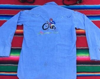 1970's Denim Hand Stitched Vintage Motorcycle Shirt